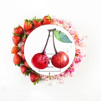 Rundes kartenmodell mit tropischem sommerkonzept mit erdbeeren