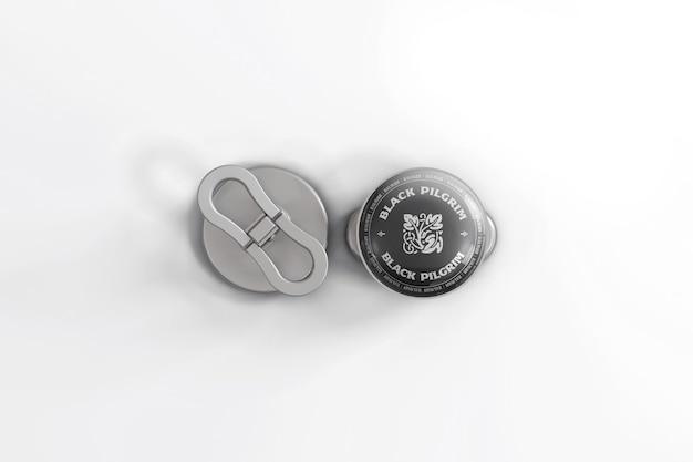 Rundes metall anstecknadel modell design isoliert
