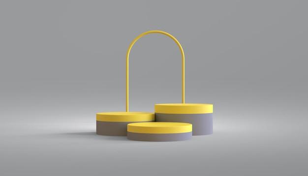 Rundes podium für produktpräsentation mit farbe des jahres