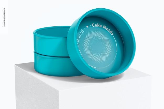 Rundes silikon-kuchenform-set mockup