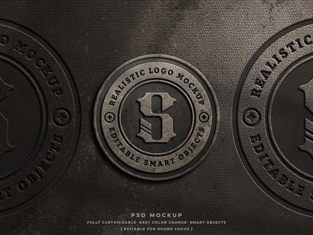 Rustikales beton- und leder-gepresstes graviertes logo-mockup auf altem staubigem leder-vintage-logo-mockup