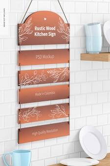 Rustikales holzküchenschild auf küchenmodell