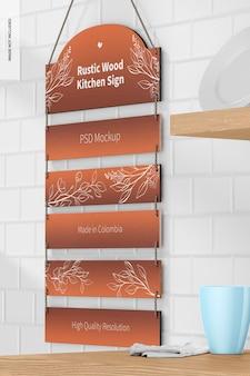 Rustikales küchenschild-mockup aus holz, perspektivische ansicht