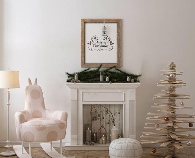 Rustikales plakatrahmenmodell mit hölzernem weihnachtsbaum, dekoration und geschenken