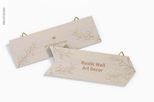 Rustikales wand-kunst-dekor-modell, ansicht von oben
