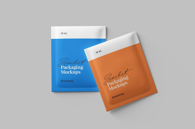 Sachet packaging mockup