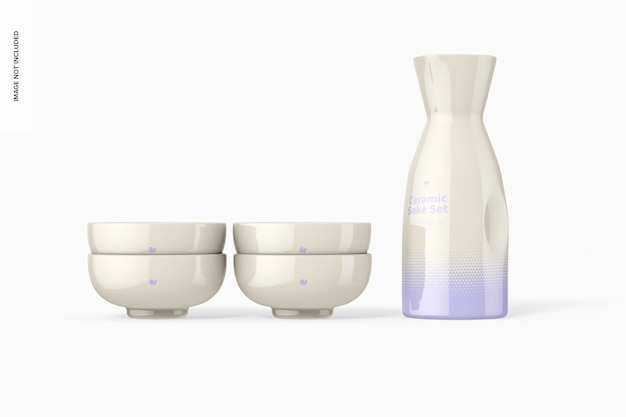 Sake set mockup aus keramik, vorderansicht