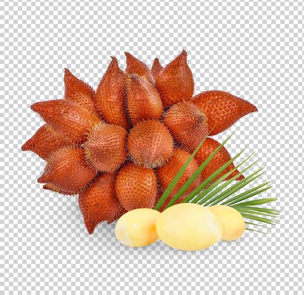 Salacca- oder zalacca-frucht mit isolierten blättern premium psd