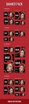 Sale banner pack in verschiedenen größen mit mode- und modethema, psd-datei