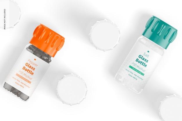 Salz- und pfeffer-glasflaschen-modell, ansicht von oben 02