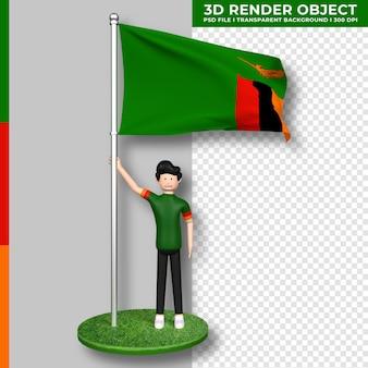 Sambia-flagge mit niedlichen menschen-cartoon-figur. 3d-rendering.