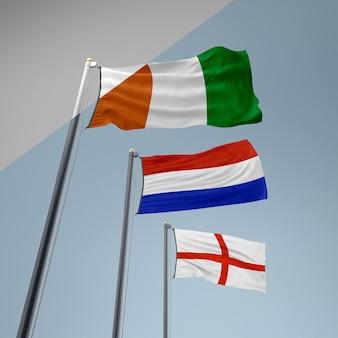 Sammlung von flaggen