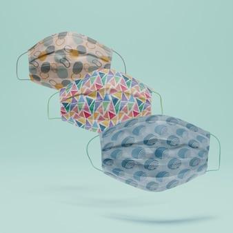 Sammlung von gesichtsmasken mit modell
