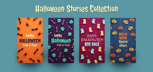 Sammlung von halloween-instagram-geschichten. bearbeitbare texte mit süßen sachen in 3d-rendering