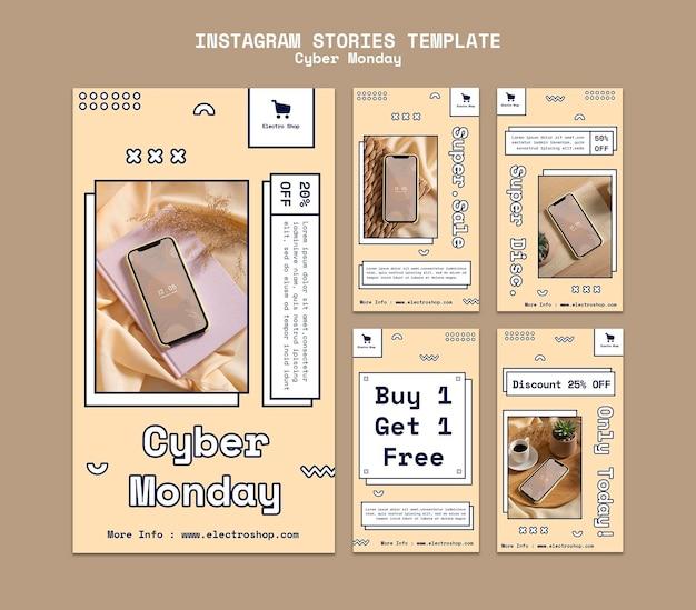 Sammlung von instagram-geschichten für den cyber monday