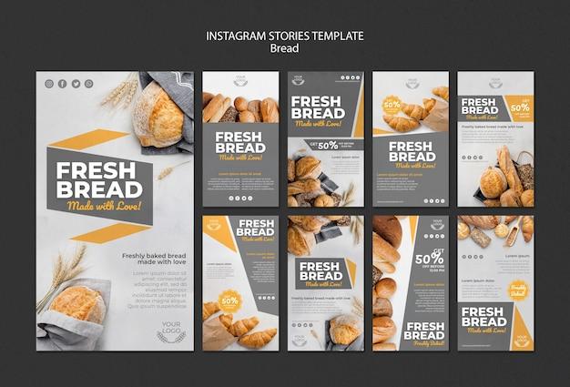 Sammlung von instagram-geschichten für die bäckerei