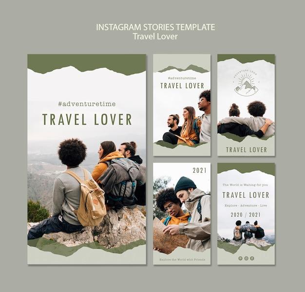 Sammlung von instagram-geschichten für reisen im freien