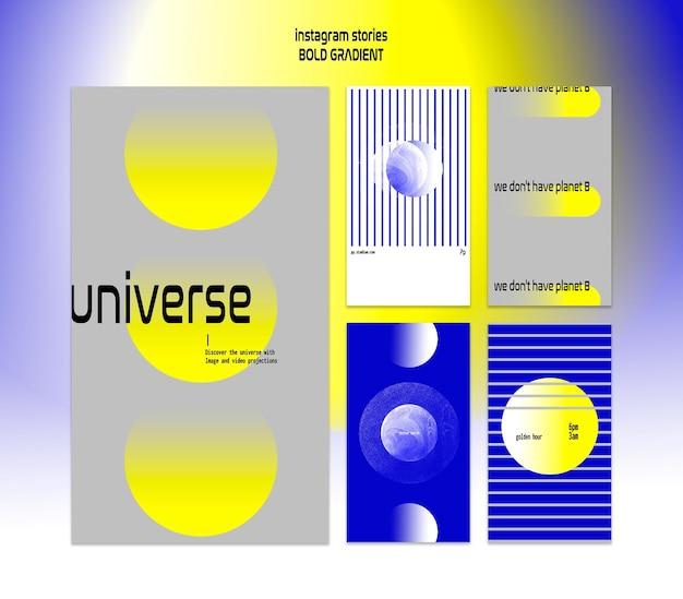 Sammlung von instagram-geschichten in fettem farbverlauf mit planet und wissenschaft