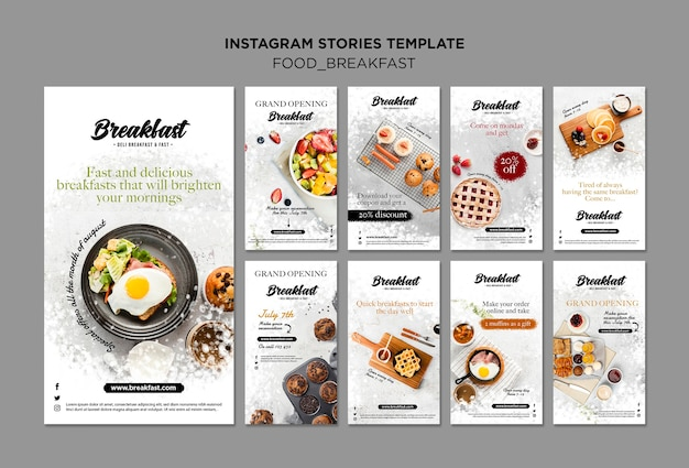 Sammlung von instagram-geschichten zum frühstückskonzept