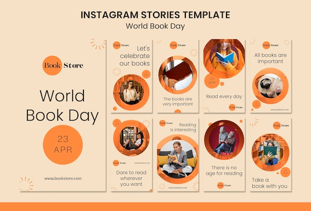Sammlung von instagram-geschichten zum weltbuchtag