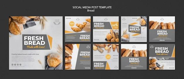 Sammlung von instagram-posts für die bäckerei