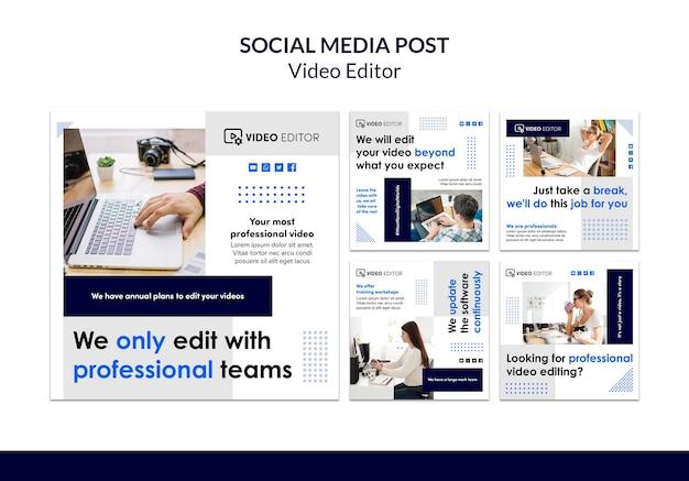 Sammlung von instagram-posts für videobearbeitungsworkshops