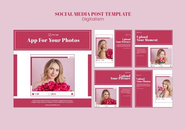 Sammlung von instagram-posts zum hochladen von fotos in sozialen medien