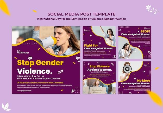 Sammlung von instagram-posts zur beseitigung von gewalt gegen frauen