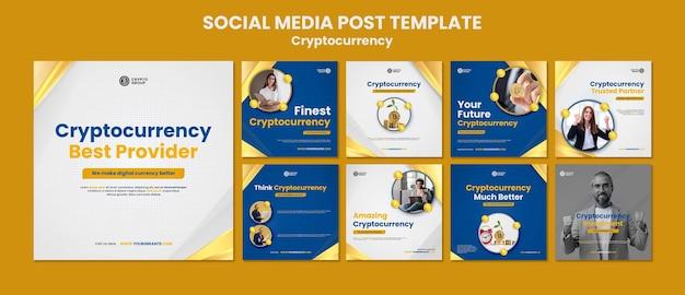 Sammlung von kryptowährungs-instagram-posts