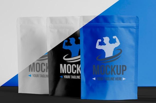 Sammlung von proteinpulverbeuteln für männer