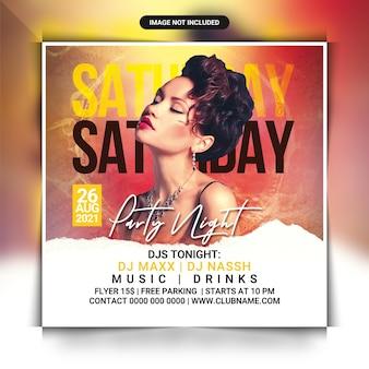 Samstag club dj party flyer vorlage