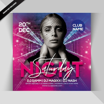 Samstag nacht party square flyer
