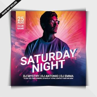 Samstagabend-party-flyer oder social-media-post-vorlage