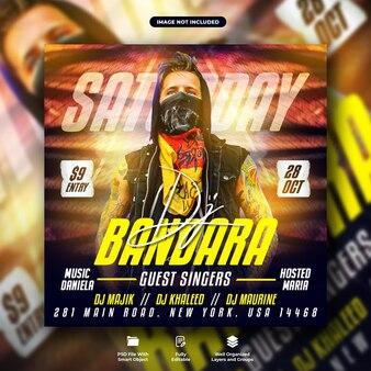 Samstags-dj-nachtclub-party-flyer und social-media-webbanner-vorlage