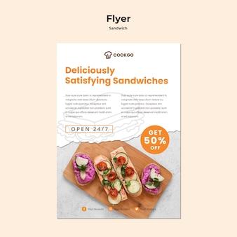 Sandwich konzept flyer vorlage