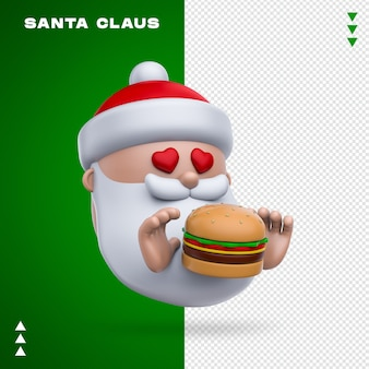 Santa claus burger 3d-rendering isoliert