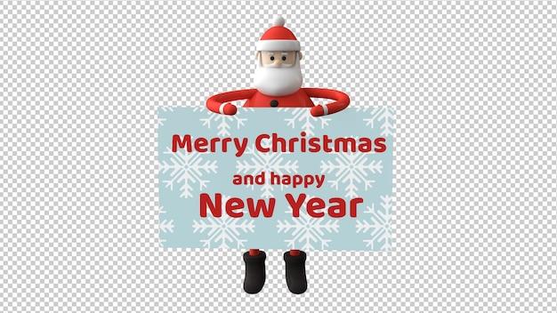 Santa claus charakter isoliert in 3d-illustration