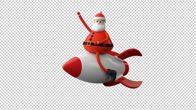 Santa claus charakter isoliert in 3d-illustration