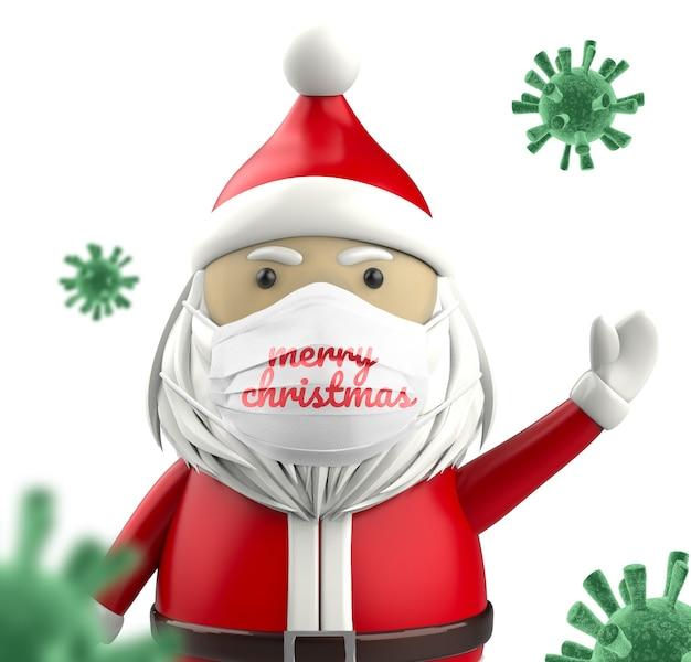 Santa tragen medizinische gesichtsmaske modell