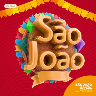 Sao joao brasilien 3d-logo in 3d-rendering