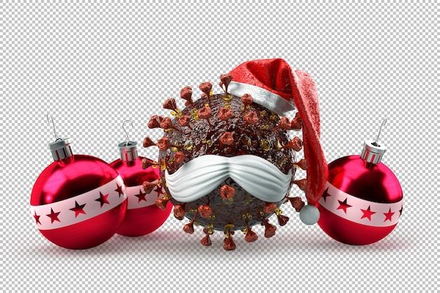 Sarsrcov-virion als weihnachtsmann-maskottchen mit dekorativen weihnachtskugeln