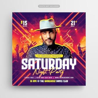 Saturday night party club flyer