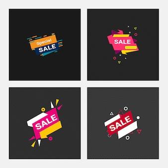 Satz der instagram beitrags- oder quadratverkaufs-fahnenschablone