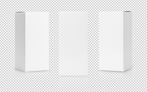 Satz der produktverpackung der hohen form des weißen kastens in der seitenansicht und in der vorderansichtmodellschablone