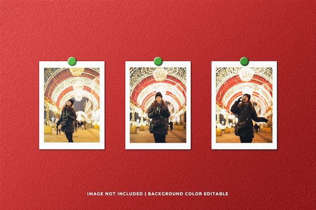 Satz porträtpapierrahmen-fotomodell für weihnachten