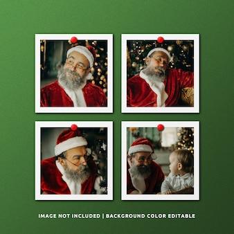 Satz quadratisches papierrahmen-foto-modell für weihnachten