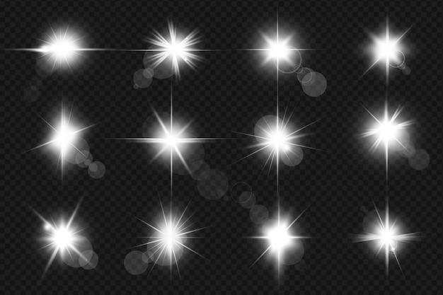 Satz realistisch leuchtende linseneffekte