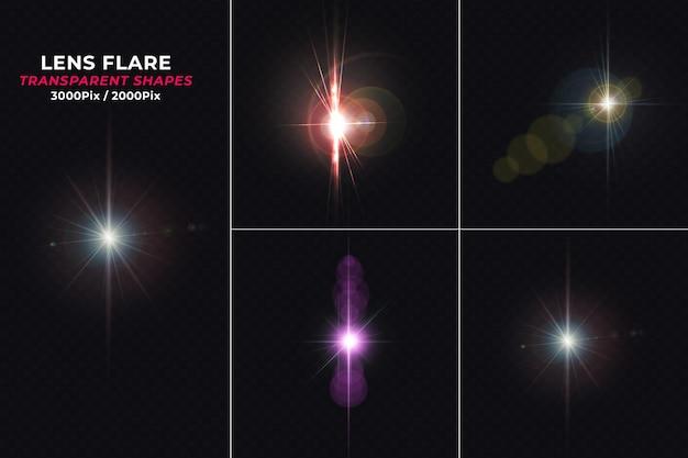 Satz realistische bunt leuchtende lens flares isoliert
