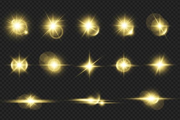 Satz realistische golden leuchtende linseneffekte