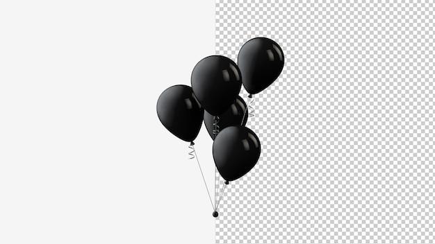 Satz von fliegenden glänzenden schwarzen ballons black friday auf transparentem hintergrund. 3d-rendering